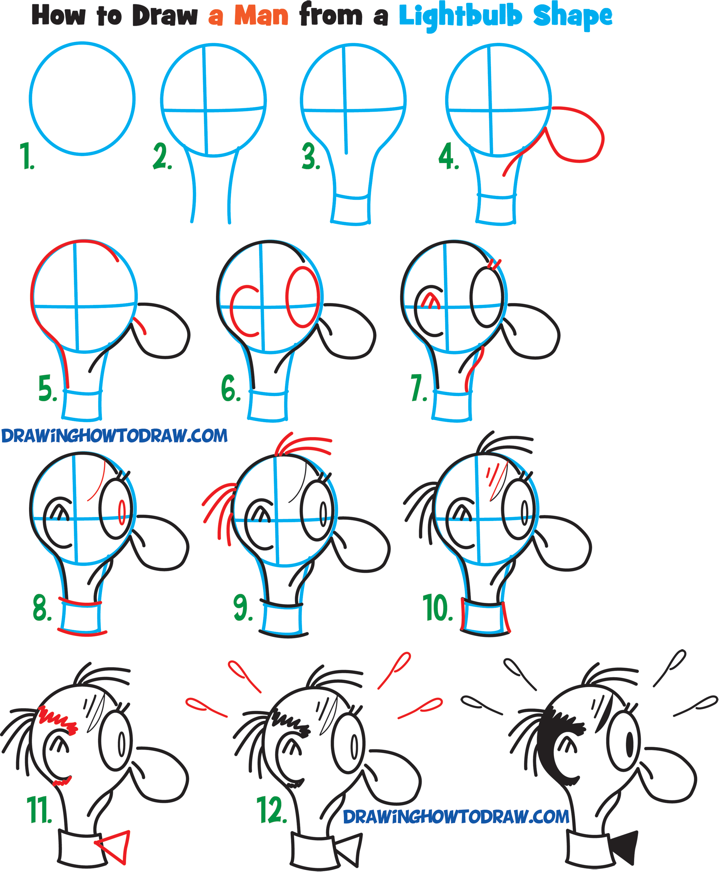 Tutorial #4: Draw a Cartoon Man's Face from the Side / Profile View from a Light Bulb
