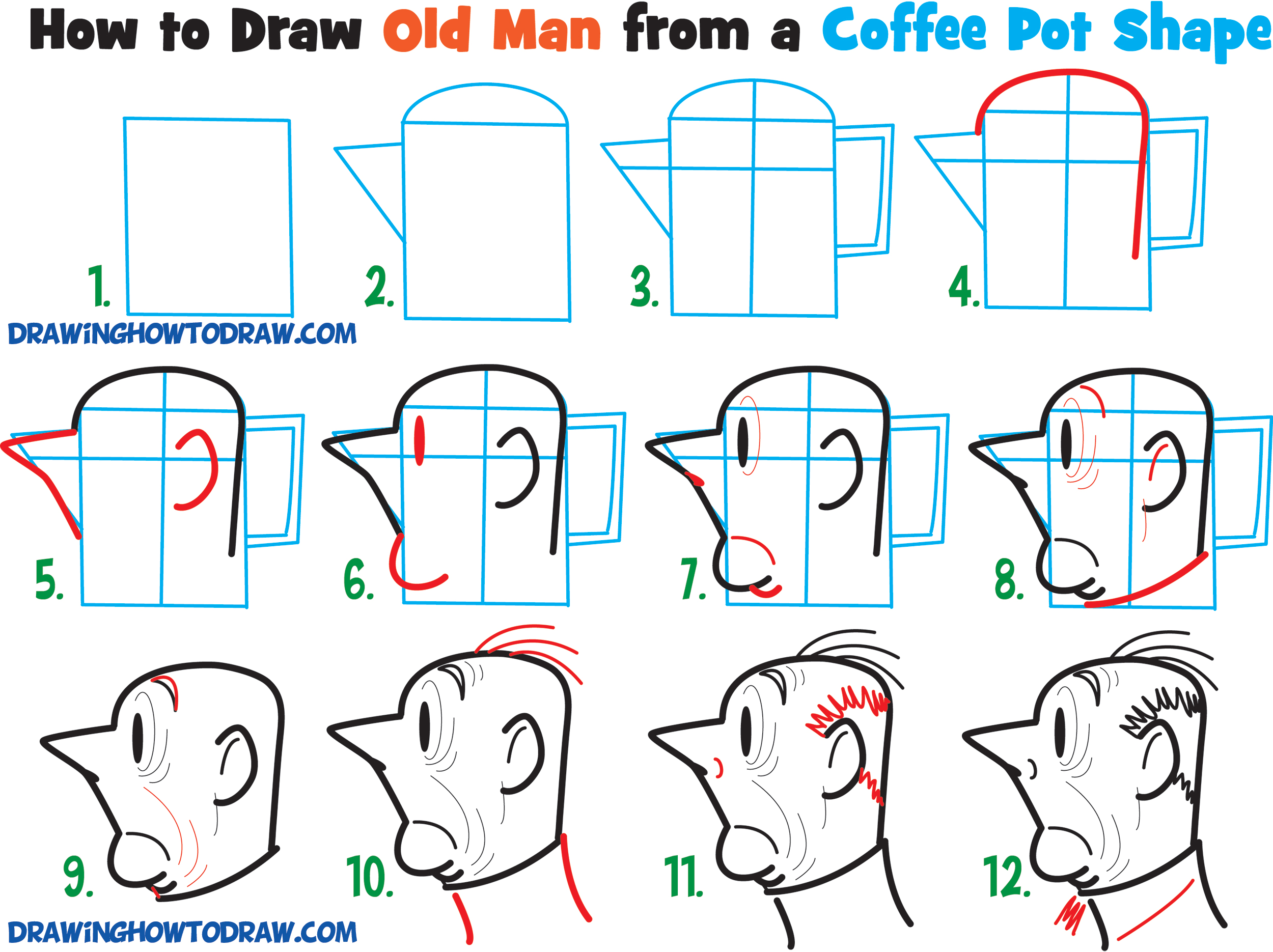 Tutorial #1: Draw a Cartoon Man's Face from the Side / Profile View