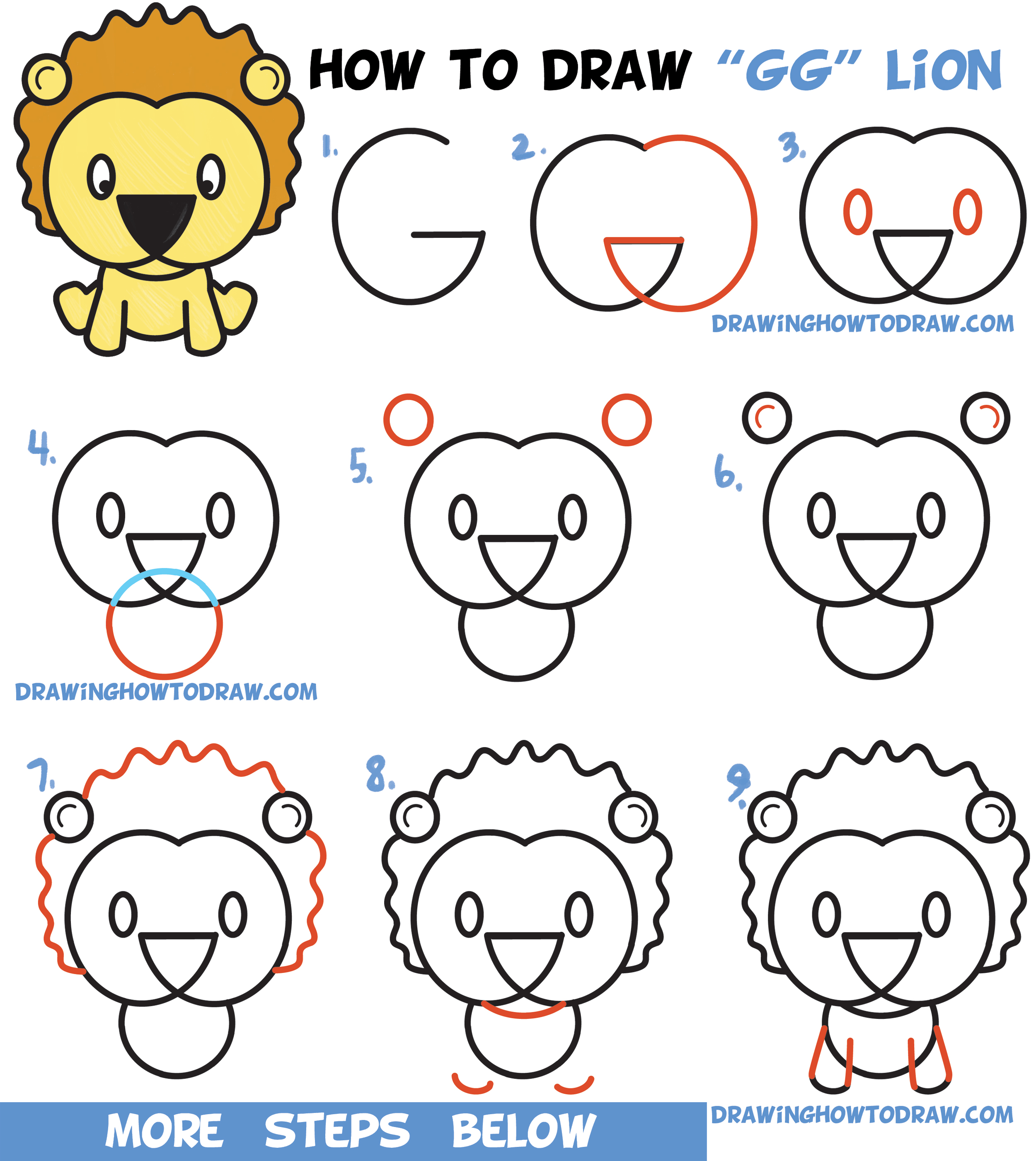 Learn How To Draw A Cute Cartoon Lion From Letters G G Easy