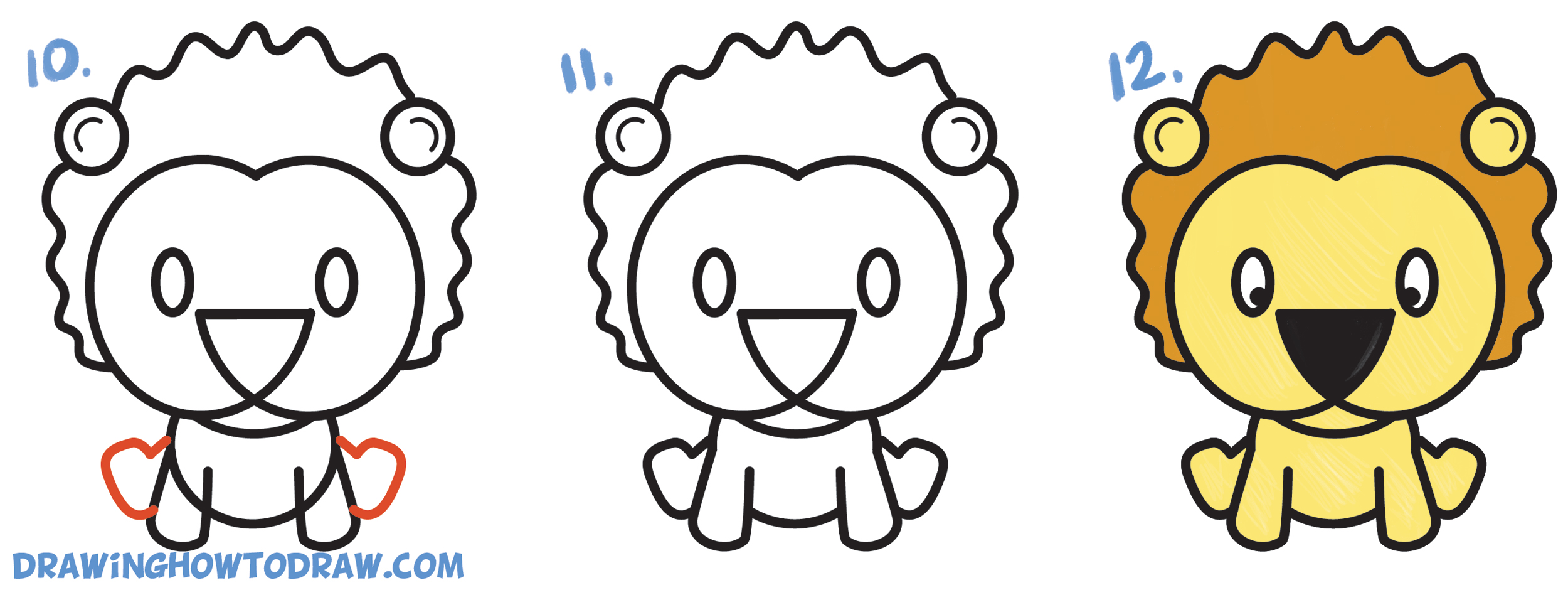 learn how to draw a cute cartoon lion from letters