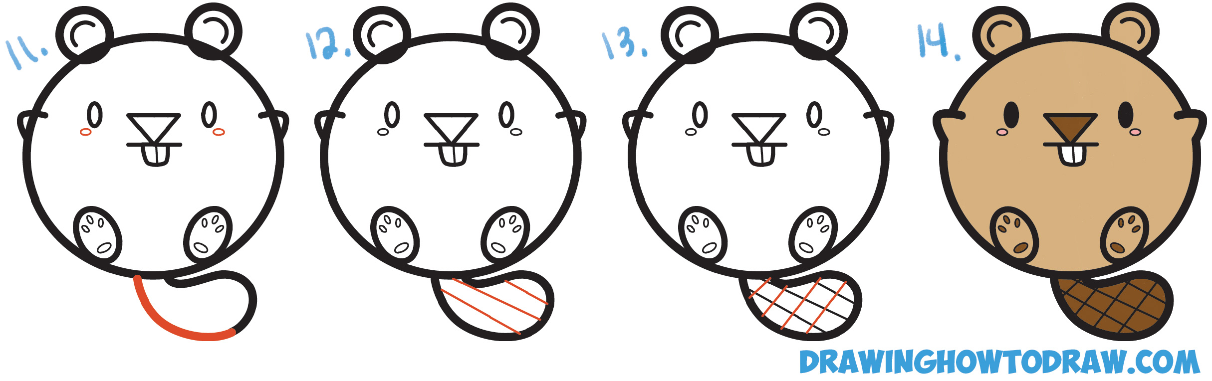 How to Draw a Cute Kawaii Cartoon Beaver with Letters Simple Steps Drawing Lesson for Kids and Beginners