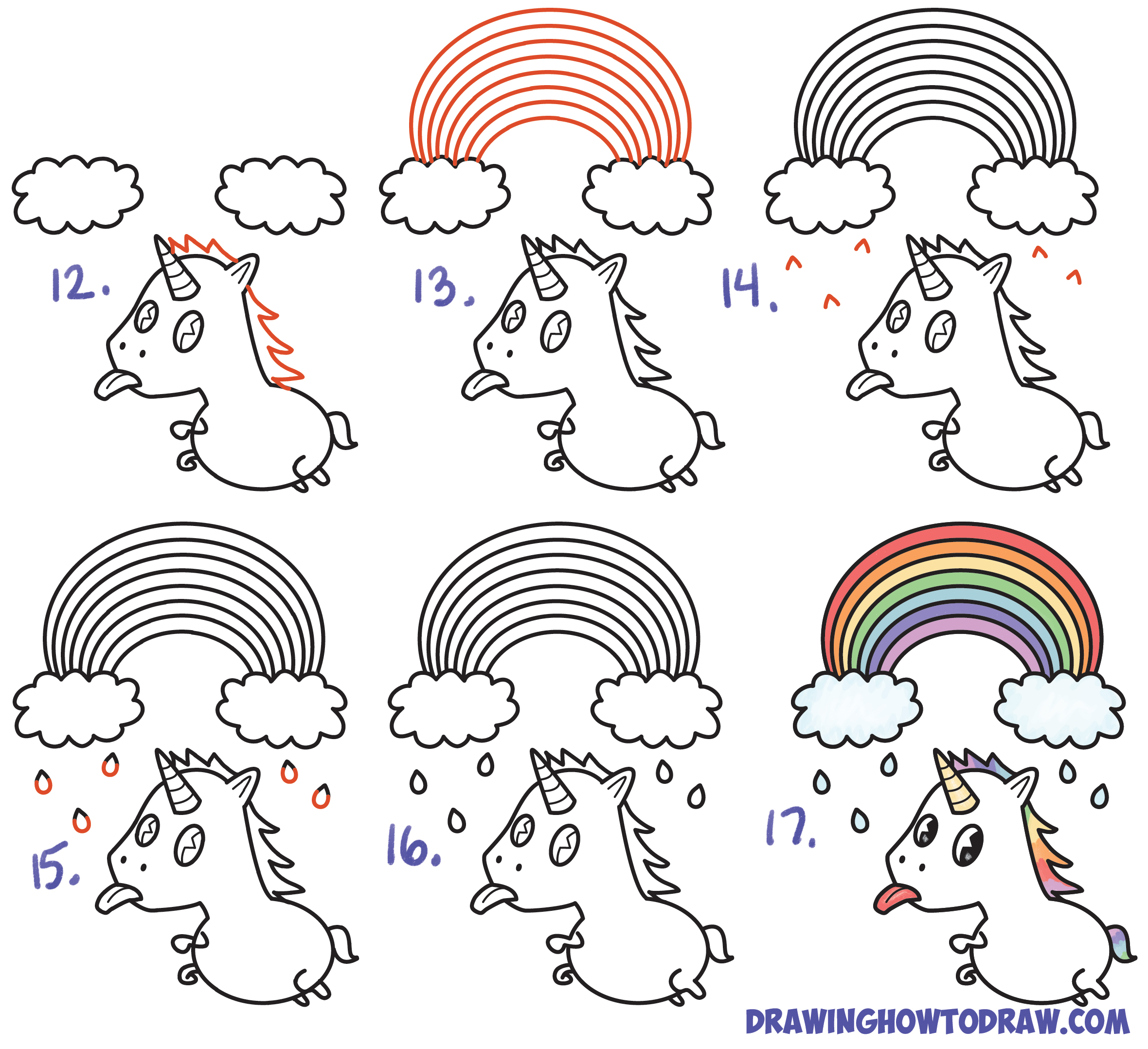 Learn How to Draw a Cute Chibi / Kawaii Unicorn with Tongue Out Under Rainbow Simple Steps Drawing Lesson for Children