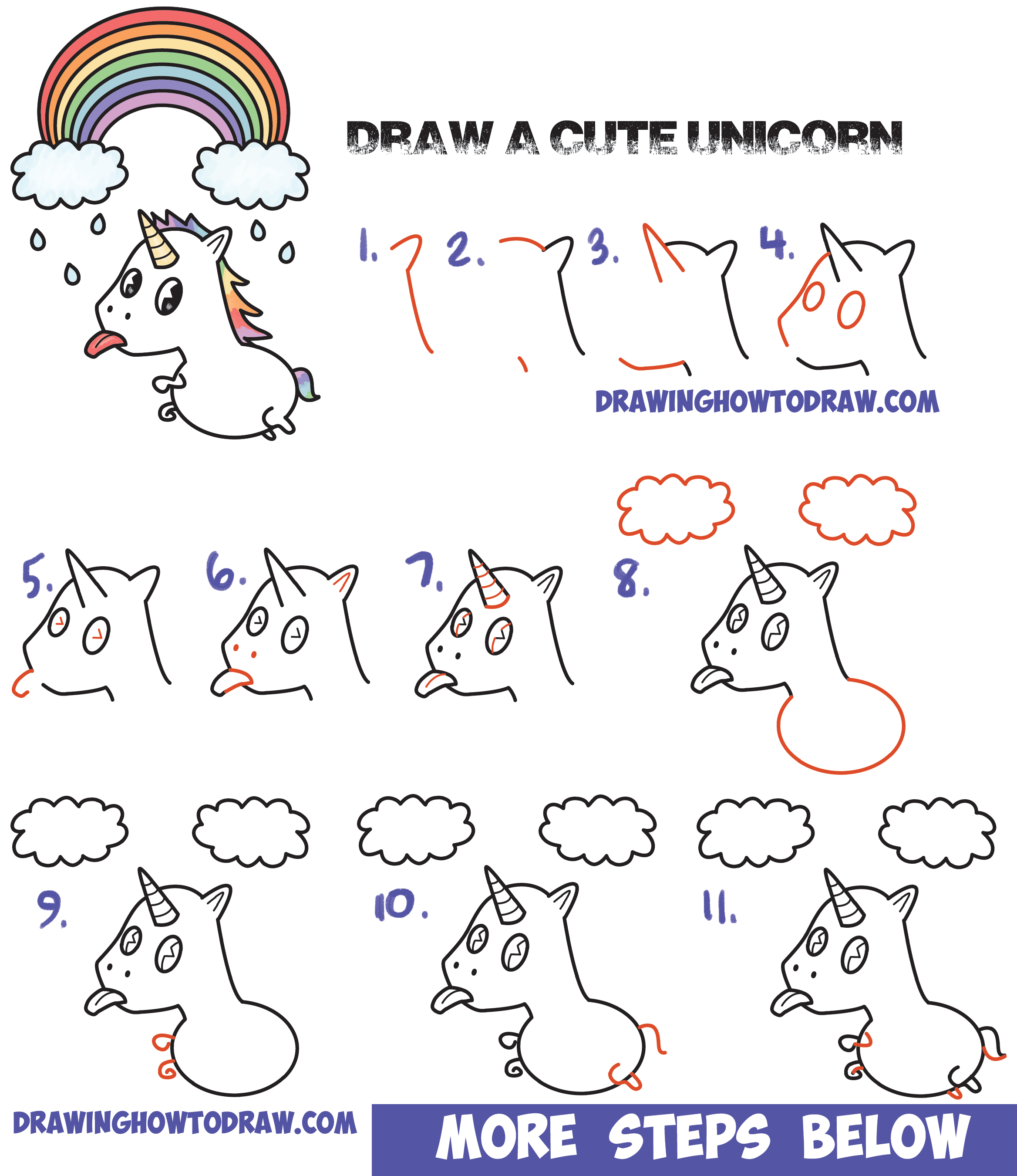 How To Draw A Cute Kawaii Unicorn With Tongue Out Under Rainbow Easy Step  By Step