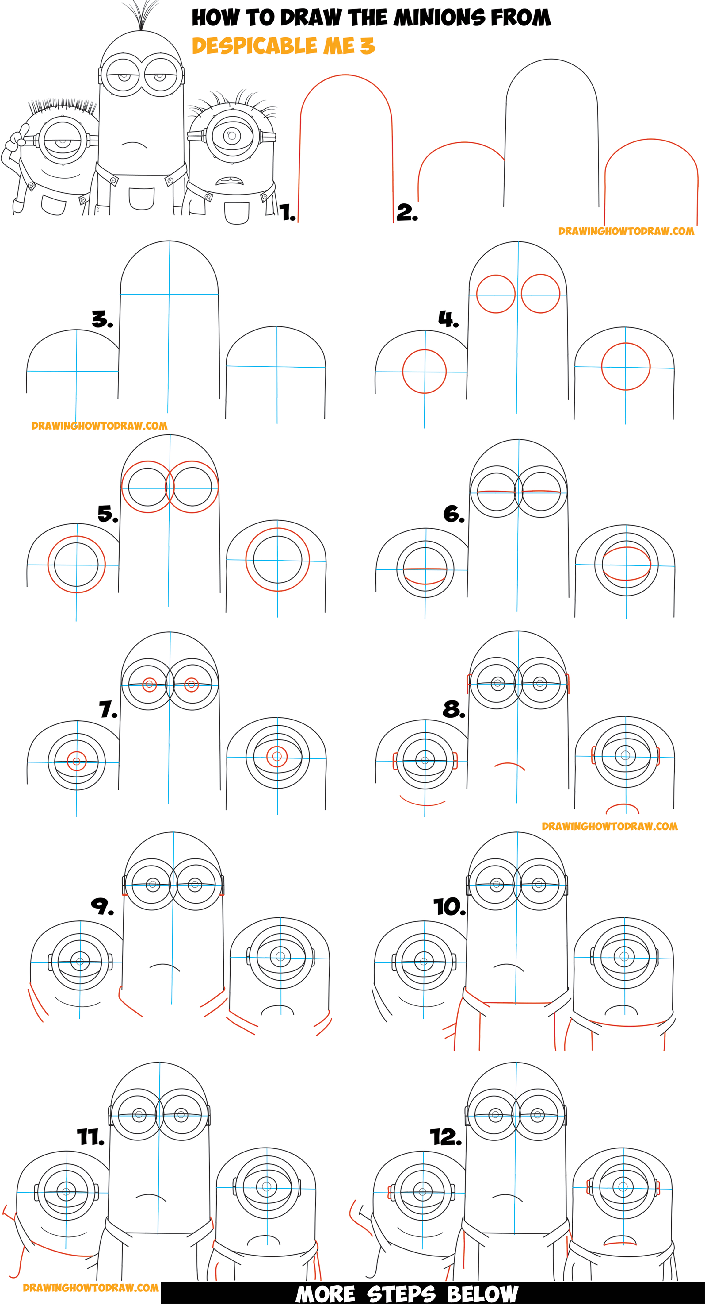 How To Draw The Minions From Despicable Me 3 Easy Step By Step