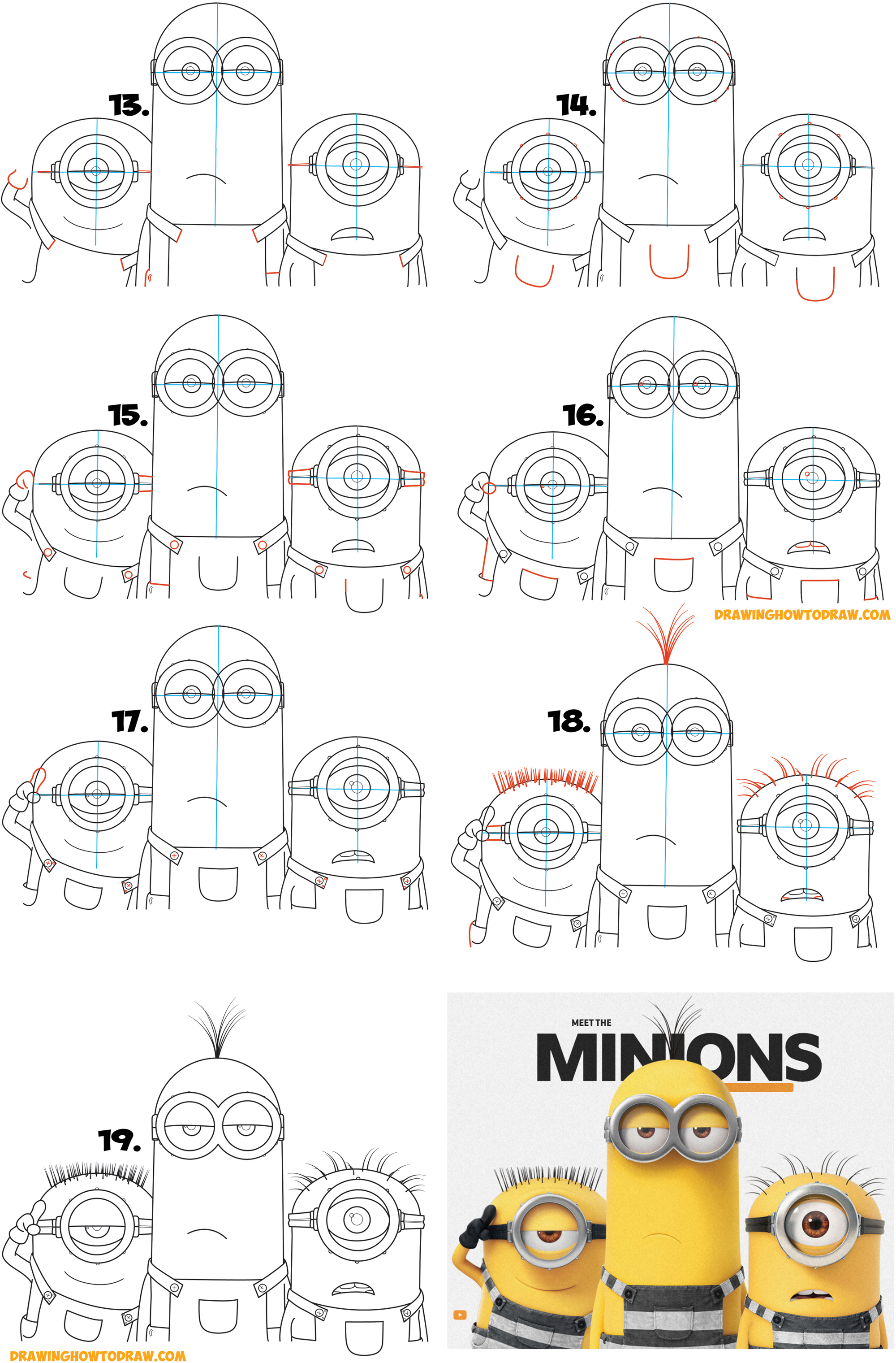 Learn How to Draw the Minions from Despicable Me 3 Simple Steps Drawing Lesson for Children (Maybe Kevin, Carl, & Jerry)