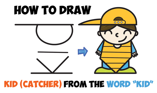 learn how to draw a cute cartoon kid baseball catcher word cartoon easy step by step