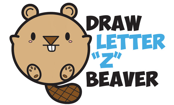 Learn How to Draw a Cute Cartoon Beaver with Letters Easy Step by Step Drawing Tutorial for Children