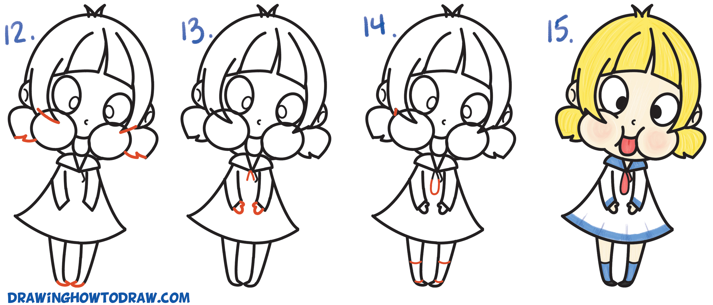 How to Draw a Cute Cartoon Girl (Chibi) Sticking Her ...