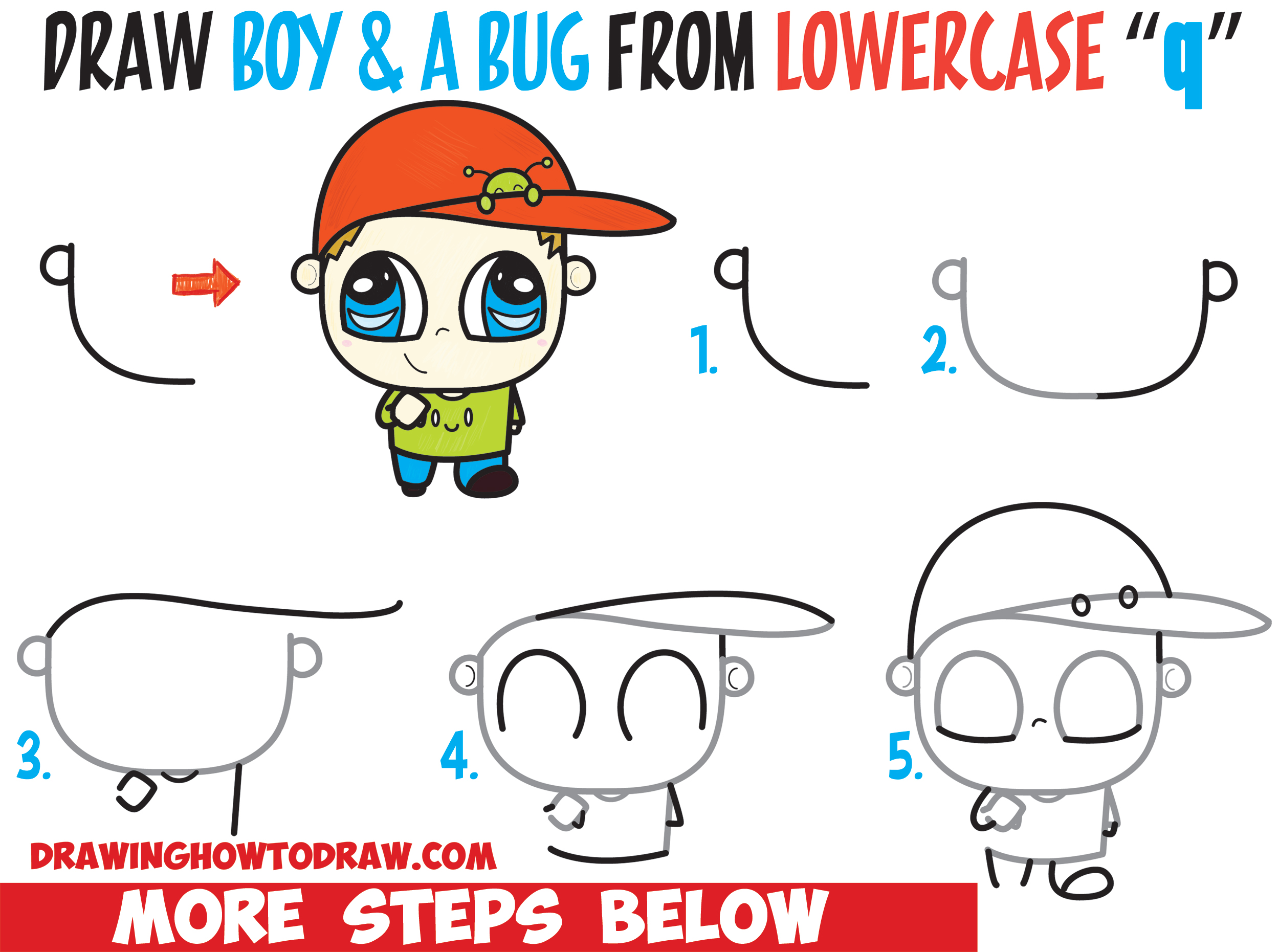 Learn How to Draw a Chibi Boy with a Cute Bug on His Baseball Hat Easy Step by Step Drawing Tutorial for Kids & Beginners