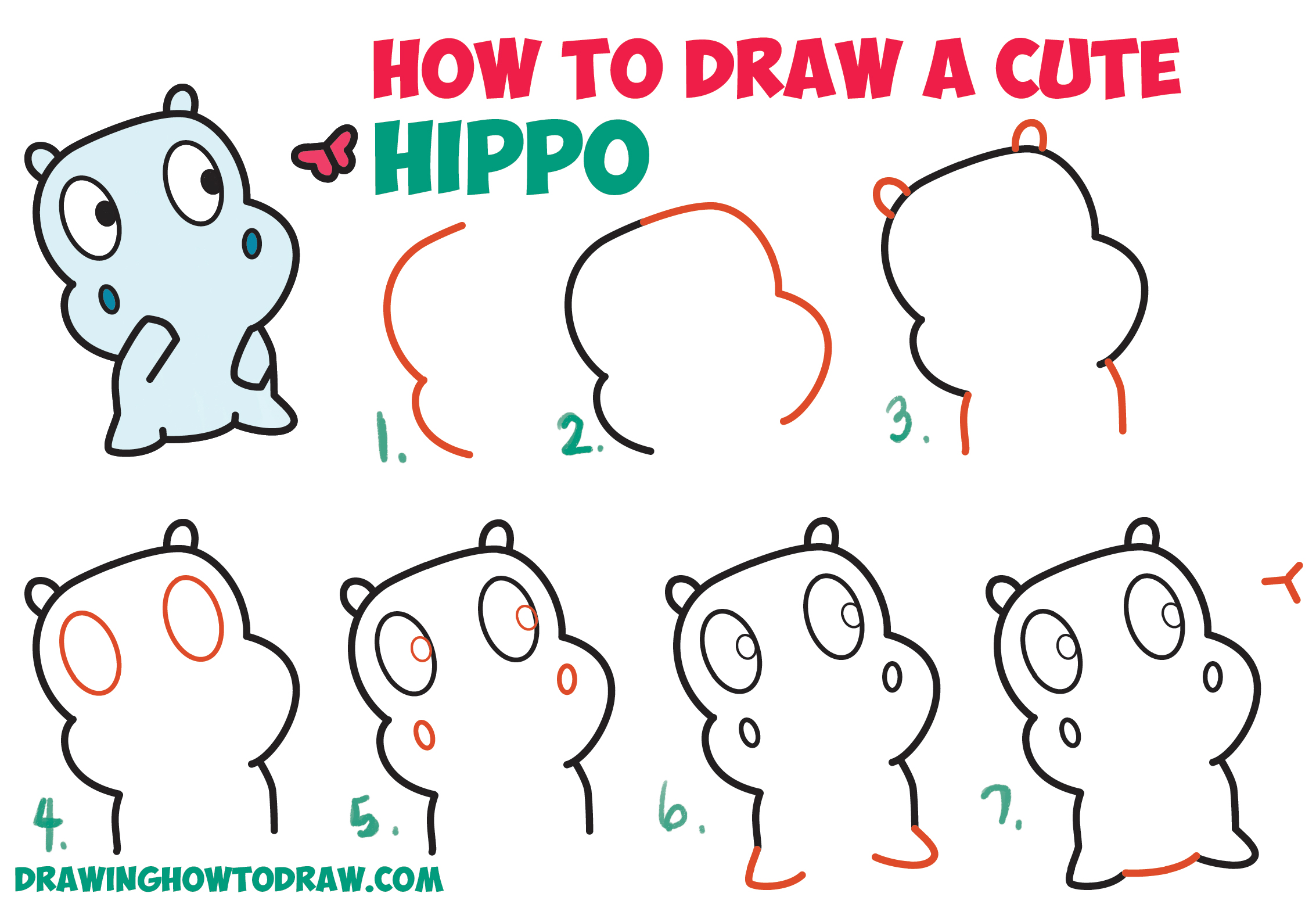 How to Draw a Cute Cartoon Baby Hippo and Butterfly Easy Step by Step Drawing Tutorial for Kids & Beginners (Kawaii / Chibi style)