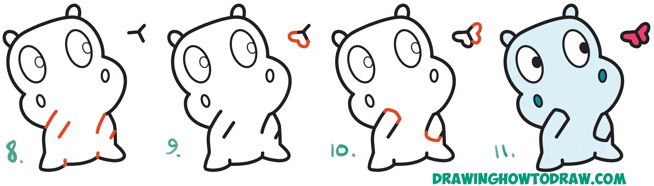 Learn How To Draw A Cute Cartoon Baby Hippo And Butterfly Simple Steps Drawing Lesson For