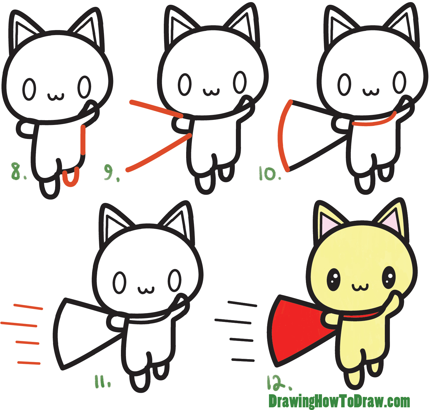 Learn How to Draw a Cute Cartoon Cat Super Hero (Kawaii) with Simple Steps Drawing Lesson for Children