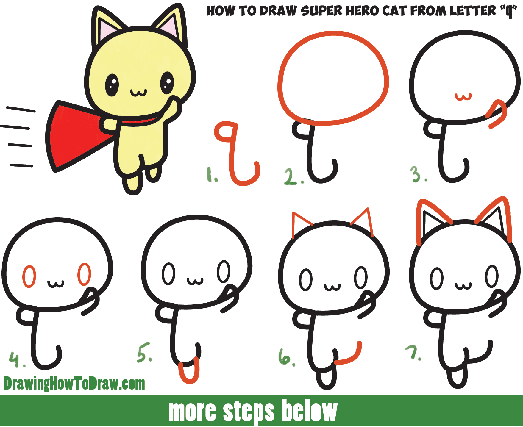 How to Draw a Cute Cat Super Hero (Kawaii) with Easy Step by Step Drawing Tutorial for Kids & Beginners