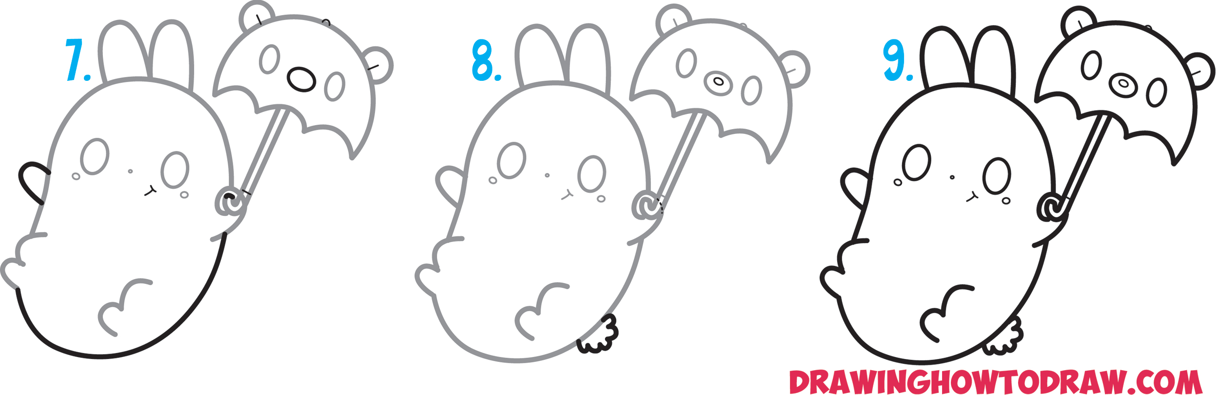 Learn How to Draw a Cute Kawaii Bunny Rabbit Holding a Bear Umbrella Easy Step by Step Drawing Tutorial for Kids and Beginners