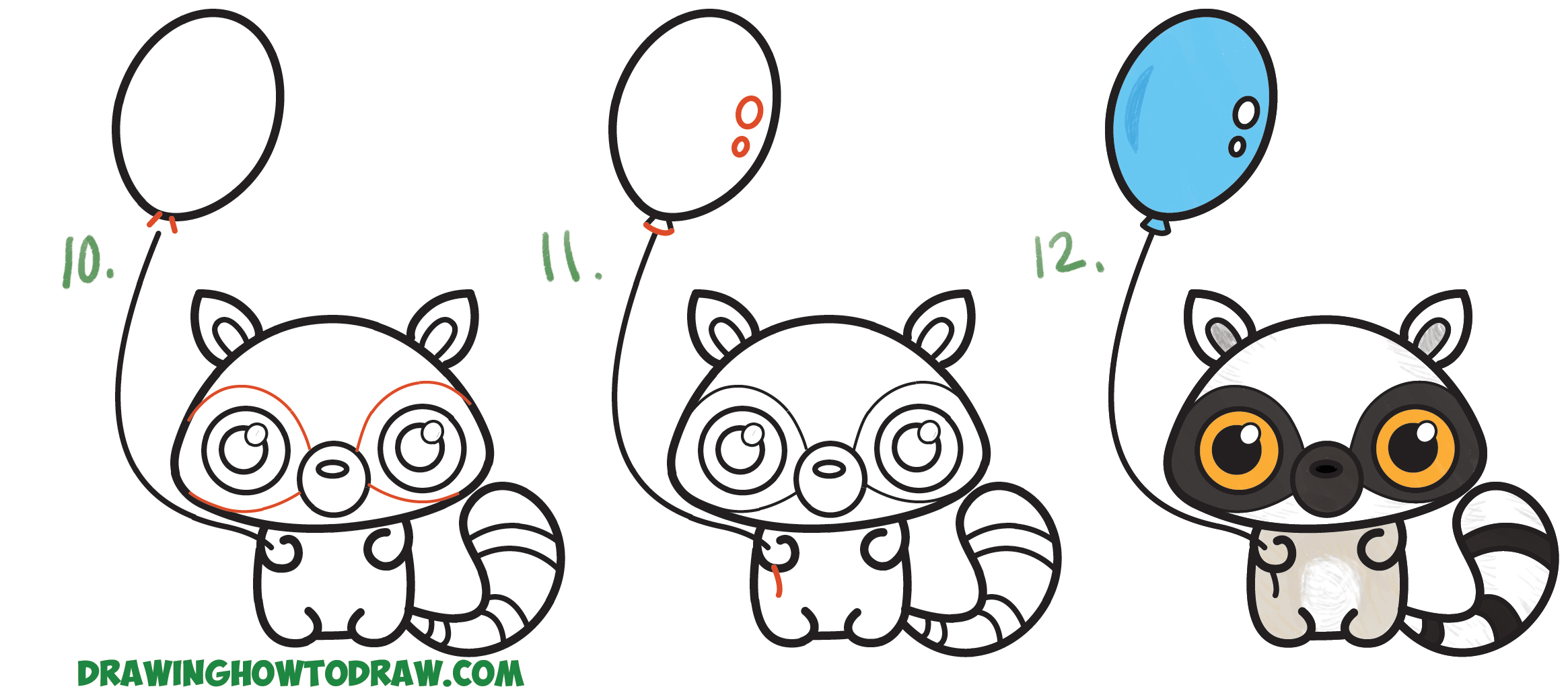 Learn How to Draw a Cute Cartoon Llemur (Kawaii / Chibi) with Simple Steps Drawing Lesson for Children