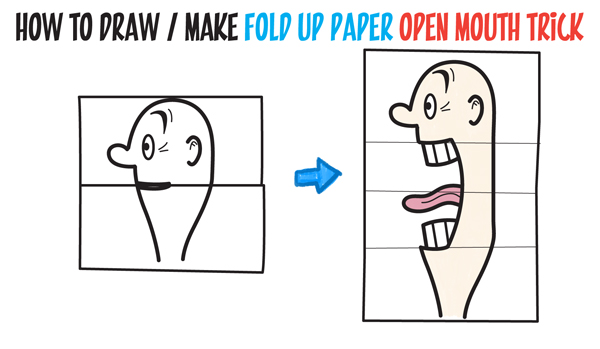 How to draw a big opening mouth paper folding trick perfect for cards easy