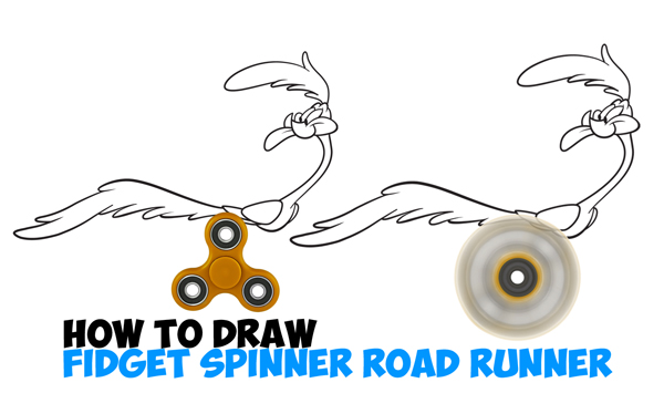 Learn How to Draw Road Runner from Looney Tunes Using Spinning Fidget Spinner as Running Legs with Simple Steps Drawing Lesson for Children & Beginners