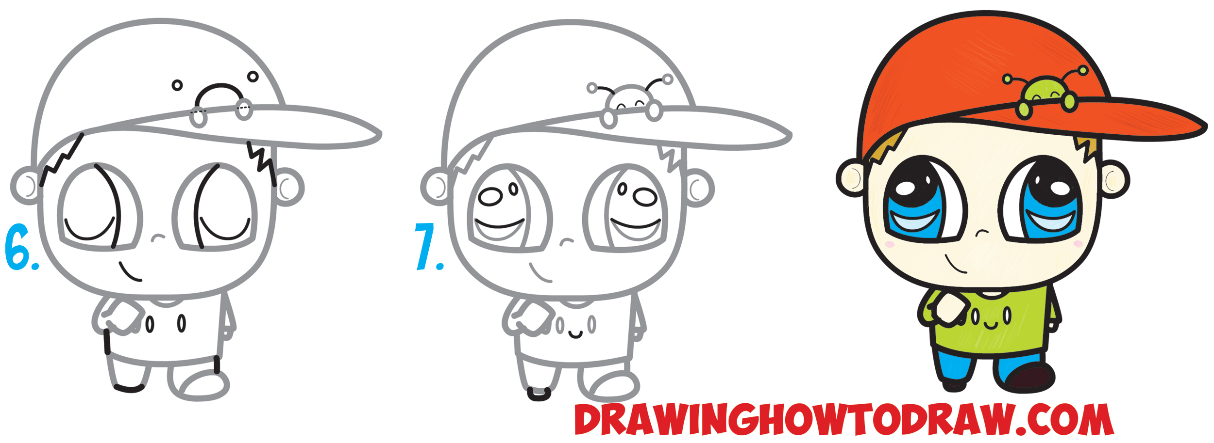 Learn How to Draw a Chibi Boy with a Cute Bug on His Baseball Hat Simple Steps Drawing Lesson for Children