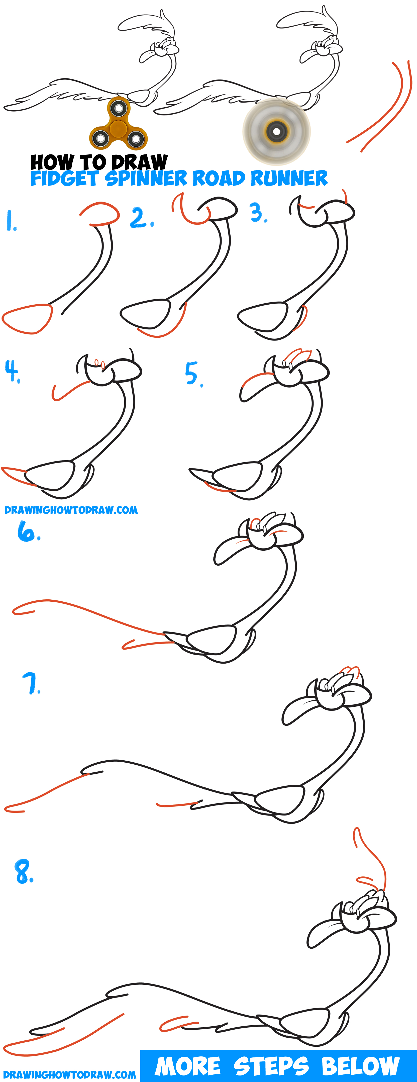 How to Draw Road Runner from Looney Tunes Using Spinning Fidget Spinner as Running Legs with Easy Step by Step Drawing Tutorial