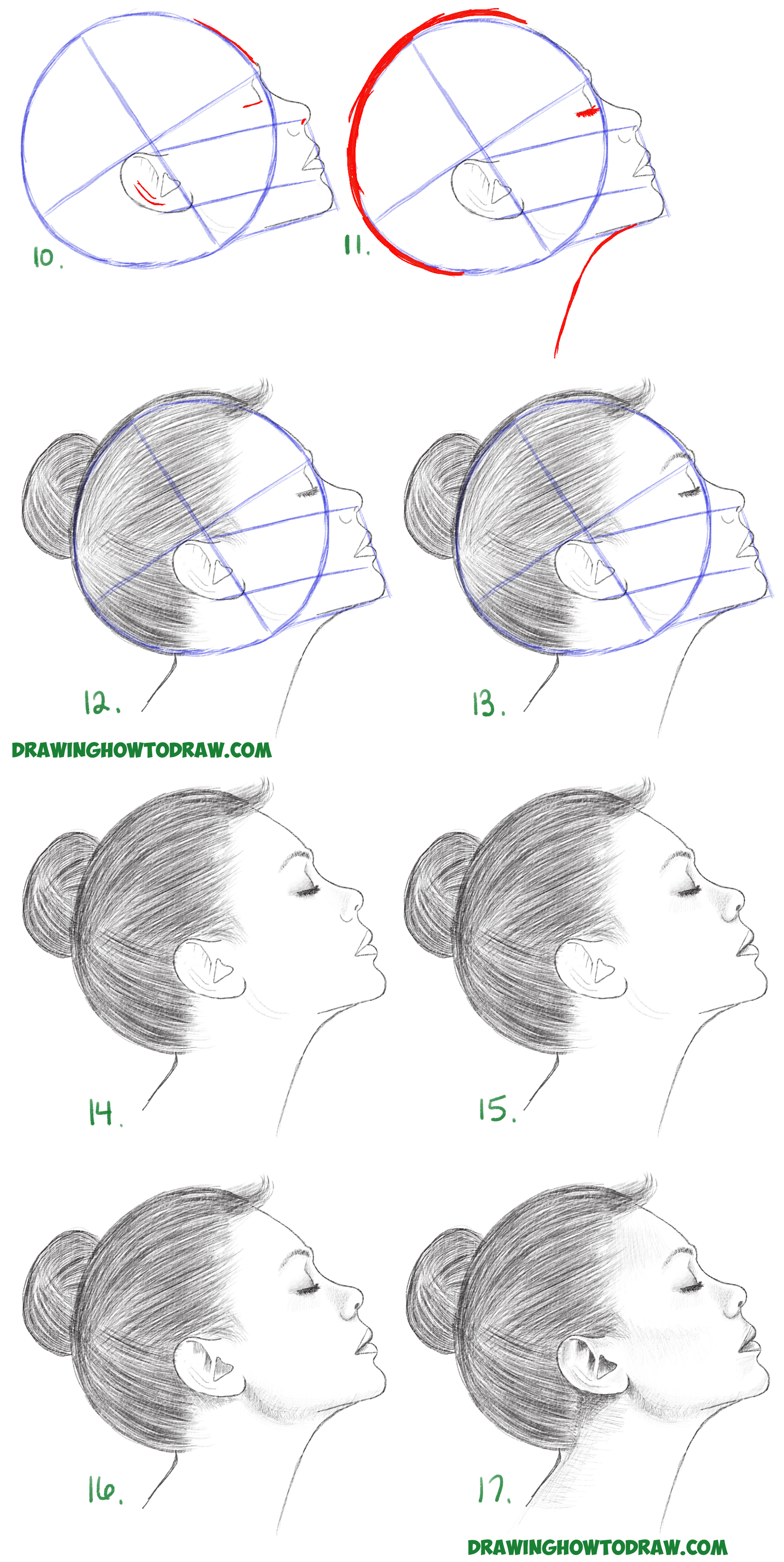 Learn how to draw a face from the side profile view female girl