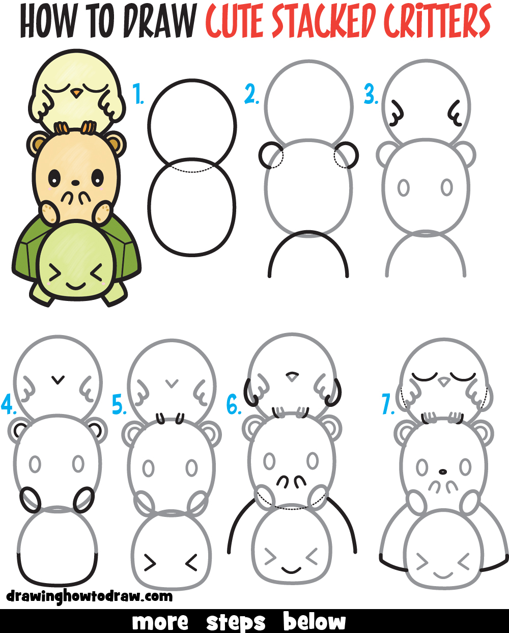 Learn How to Draw Cute Cartoon Turtle, Hamster, & Bird (Kawaii) Easy Step by Step Drawing Tutorial for Kids