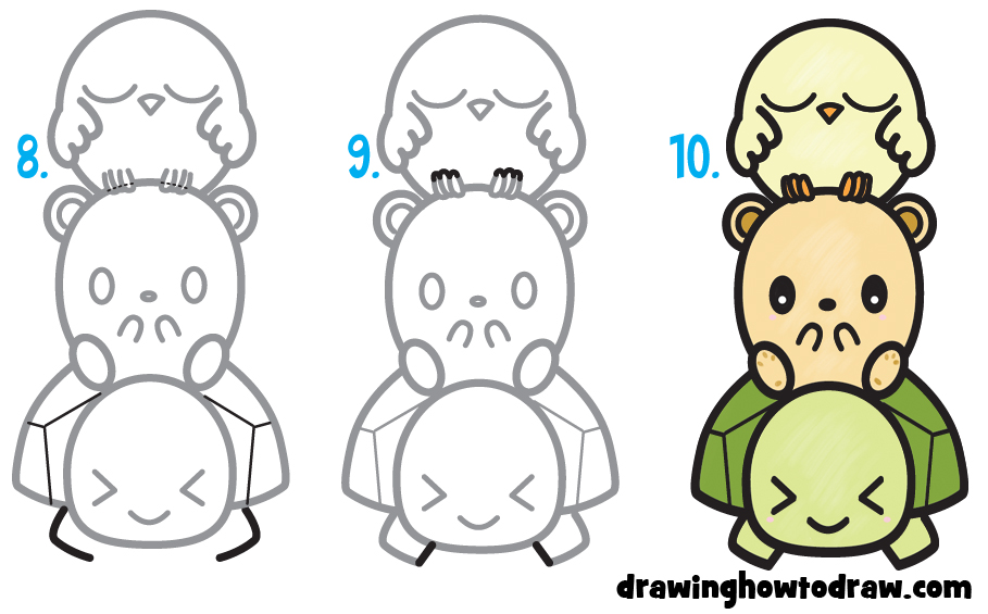 Learn How to Draw Cute Cartoon Turtle, Hamster, & Bird (Kawaii) Simple Steps Drawing Lesson for Children & Beginners