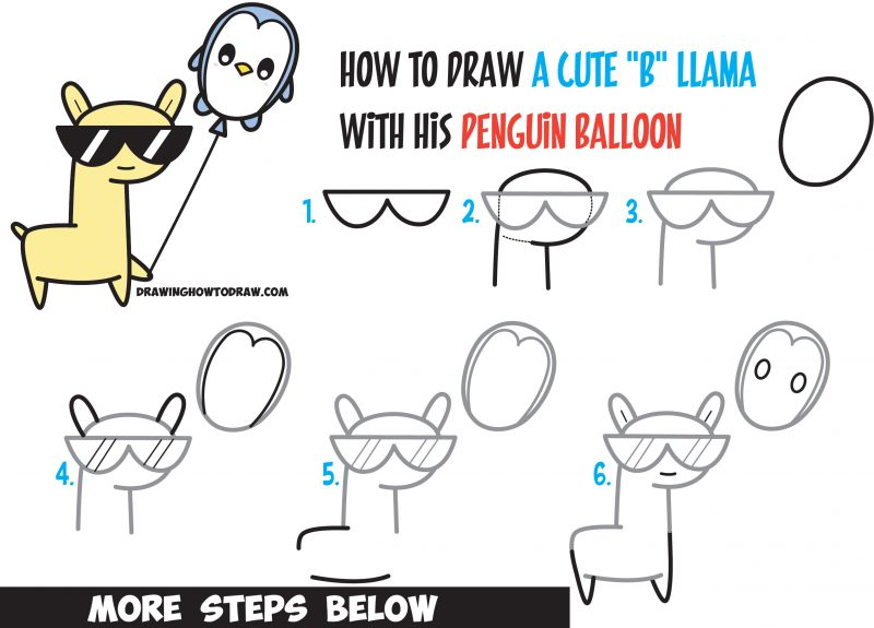 79ce8ad8fc21 Learn How to Draw Cute Kawaii Llama with Sunglasses Holding Cartoon Penguin  Balloon Easy Step by Step Drawing Tutorial for Kids   Beginners - How to  Draw ...