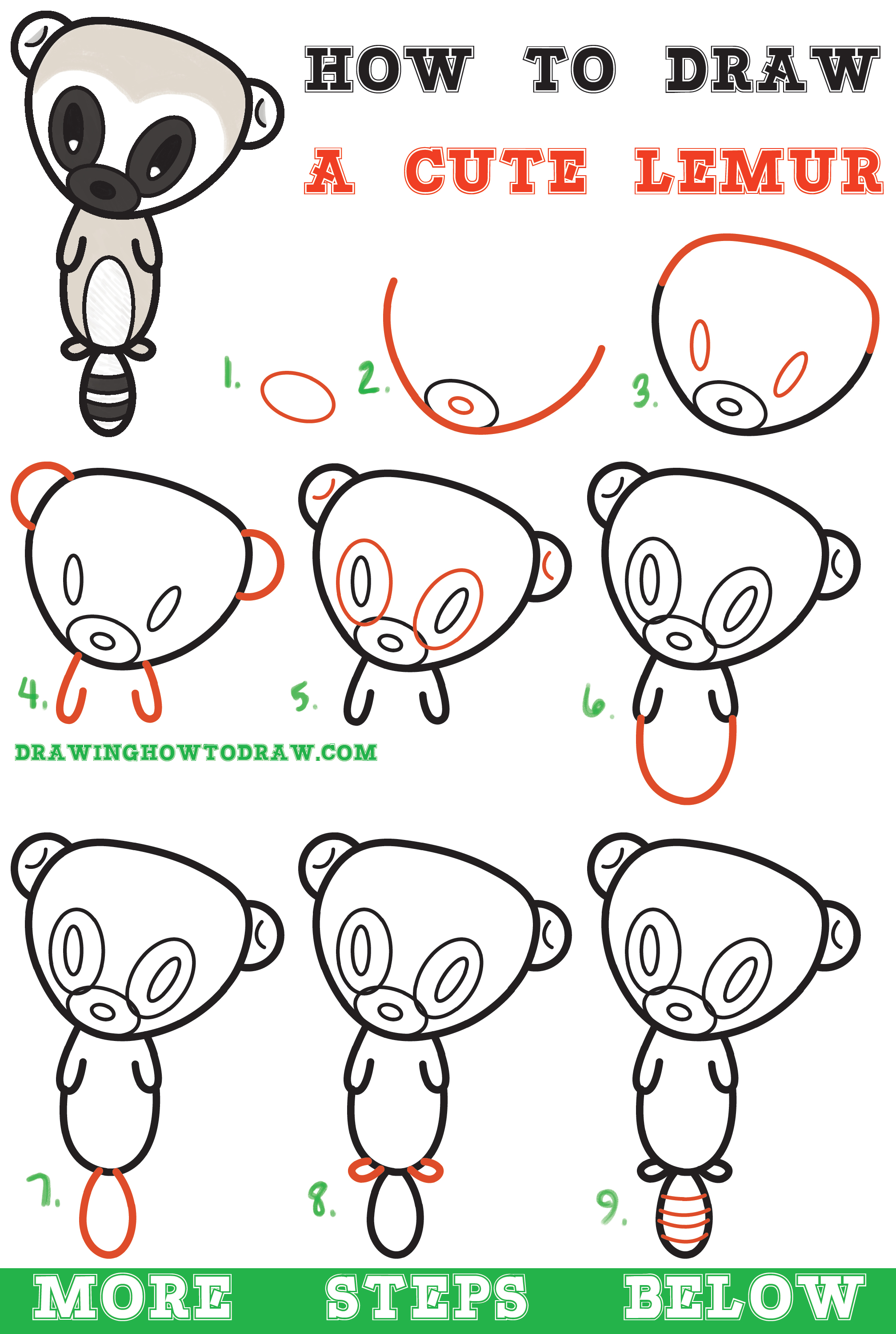 learn how to draw a super cute cartoon lemur easy step by