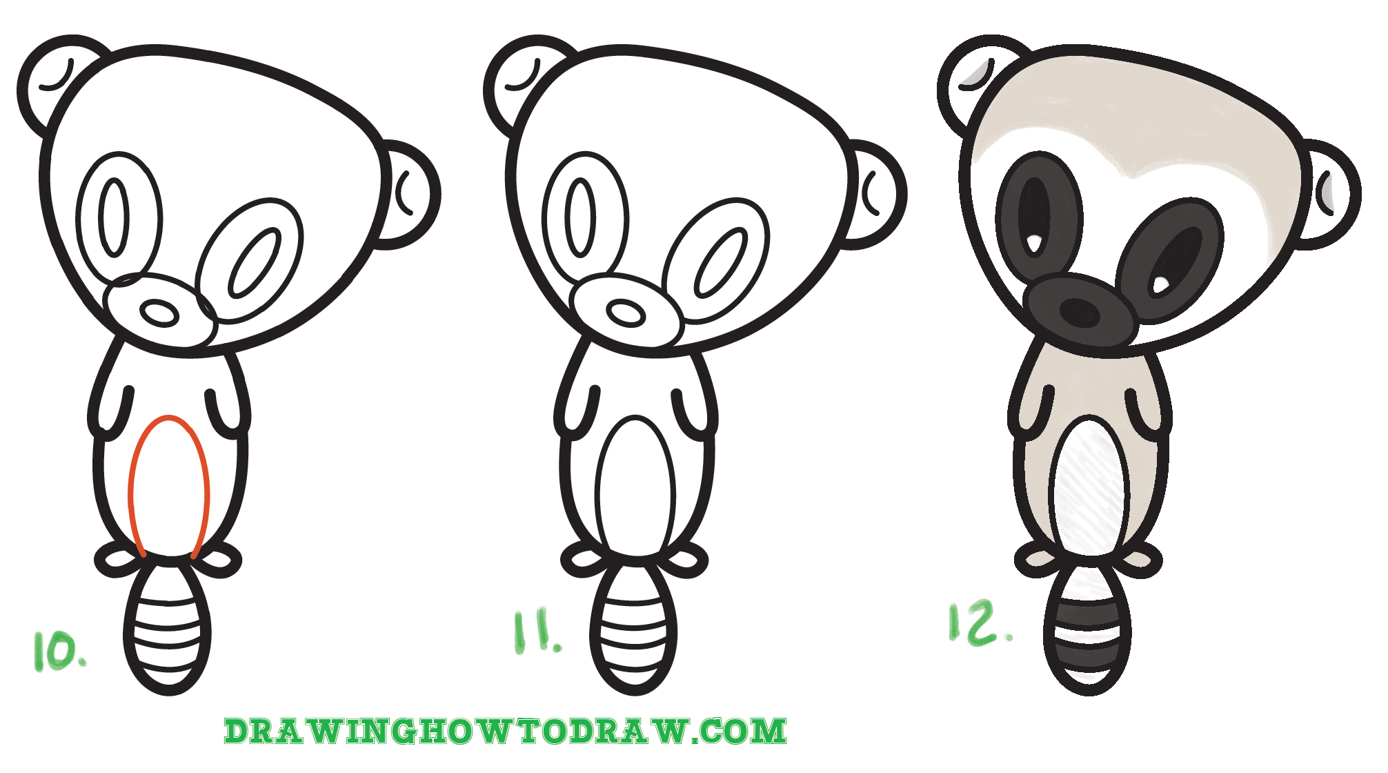 How to Draw a Super Cute Cartoon Lemur Simple Steps Drawing Lesson for Children
