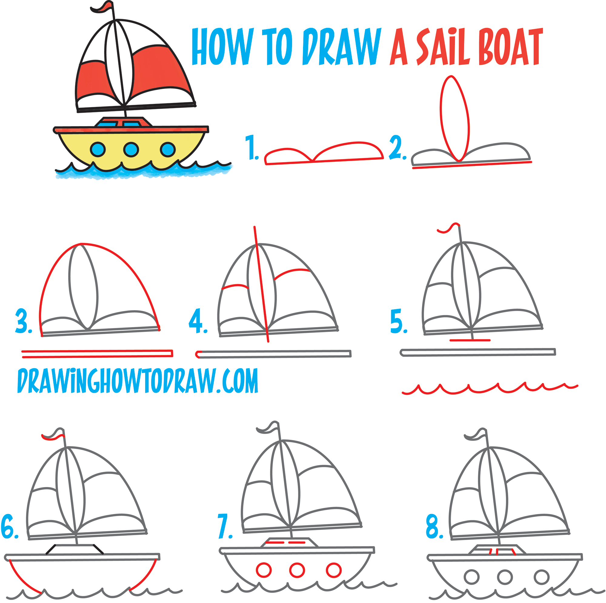 "How to Draw a Cartoon Sailboat from the Letter ""B"" Shape Easy Step by Step Drawing Lesson for Kids"