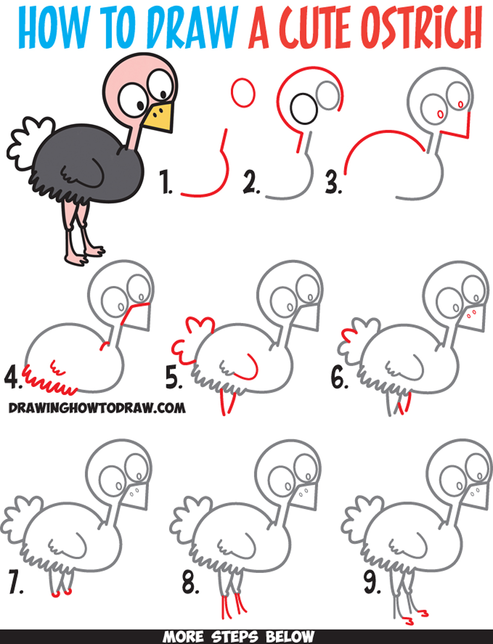 How to draw a cute cartoon ostrich easy step by step for How to make cartoon drawings step by step
