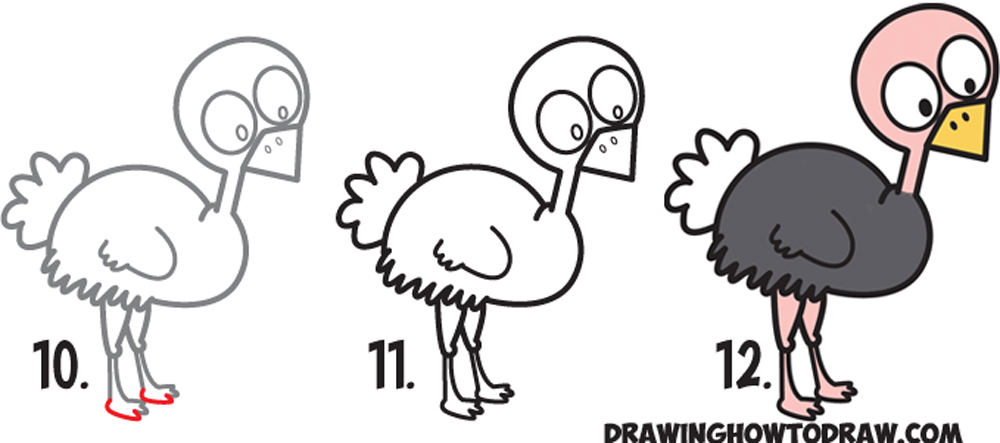 Learn How to Draw a Cute Cartoon Ostrich (Kawaii / Chibi) Simple Steps Drawing Lesson for Kids & Beginners