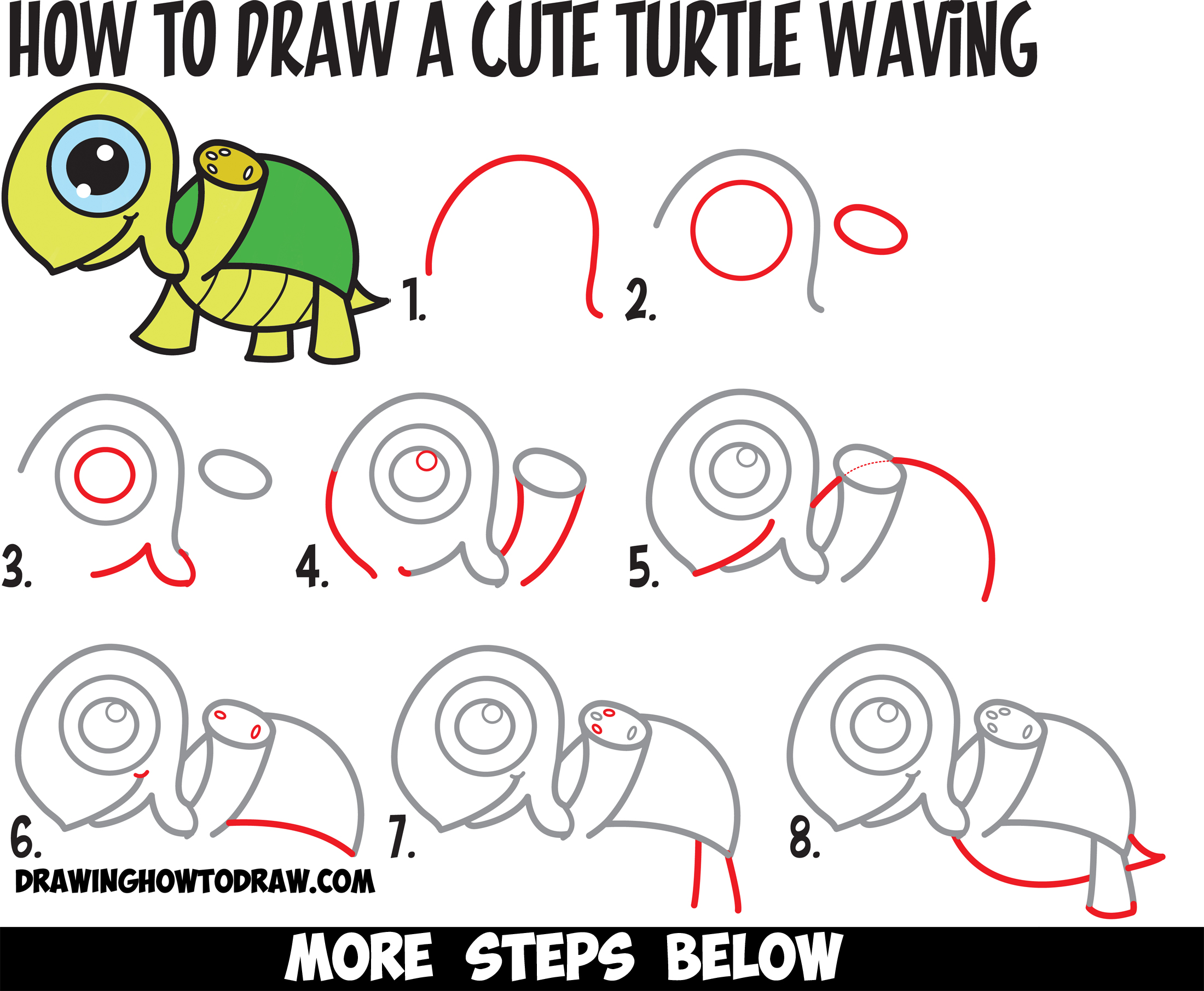 Learn how to draw a cute cartoon turtle waving with easy for How to make cartoon drawings step by step