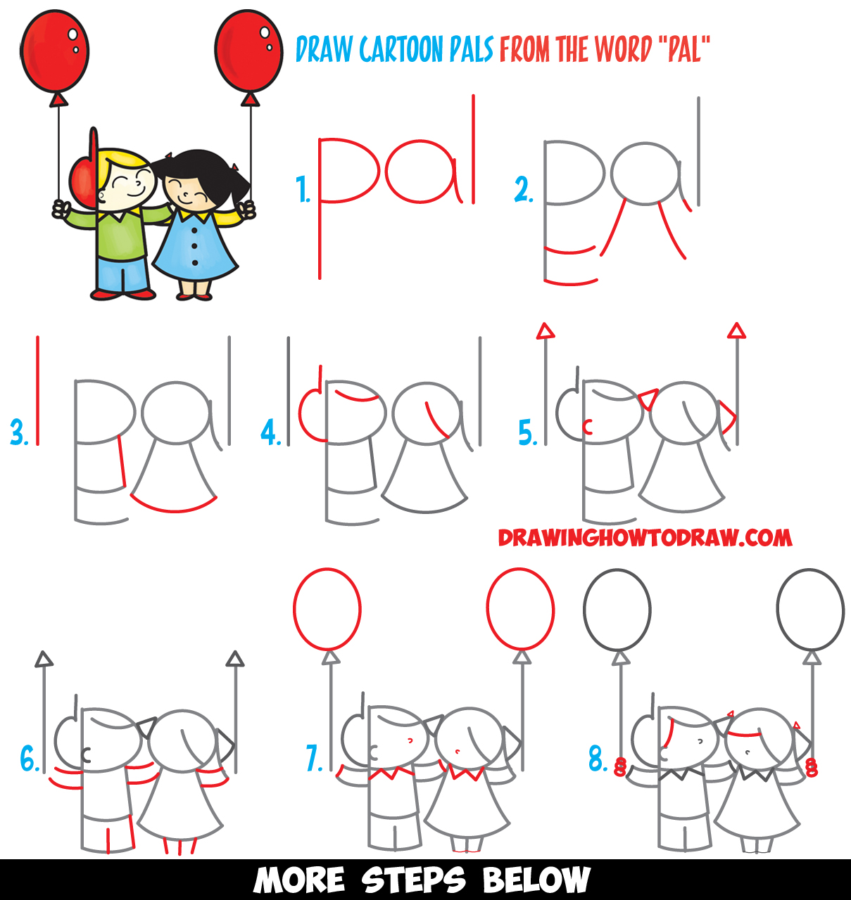 "How to Draw 2 Cartoon Friends or Pals from the Word ""Pal"" Word Toon Easy Step by Step Drawing Tutorial for Kids"