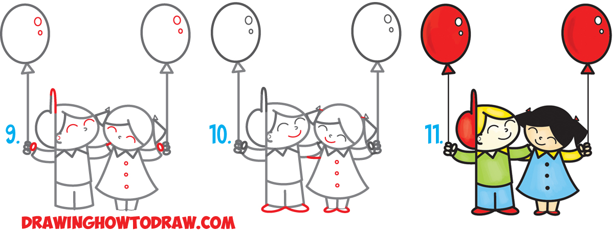 """Learn How to Draw 2 Cartoon Friends or Pals from the Word """"Pal"""" Word Toon Simple Steps Drawing Lesson for Beginners"""