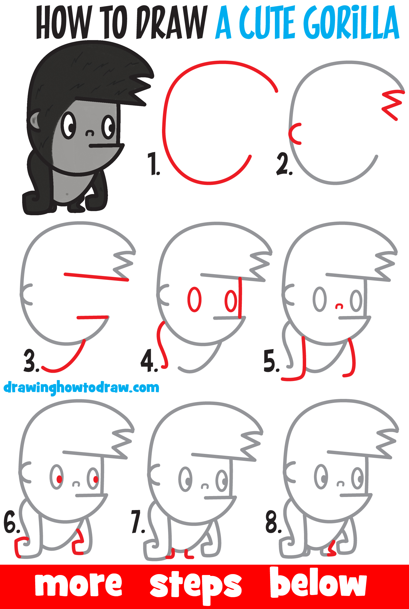 Learn How to Draw a Cute Cartoon Kawaii Gorilla with Easy Step by Step Drawing Tutorial for Kids & Beginners