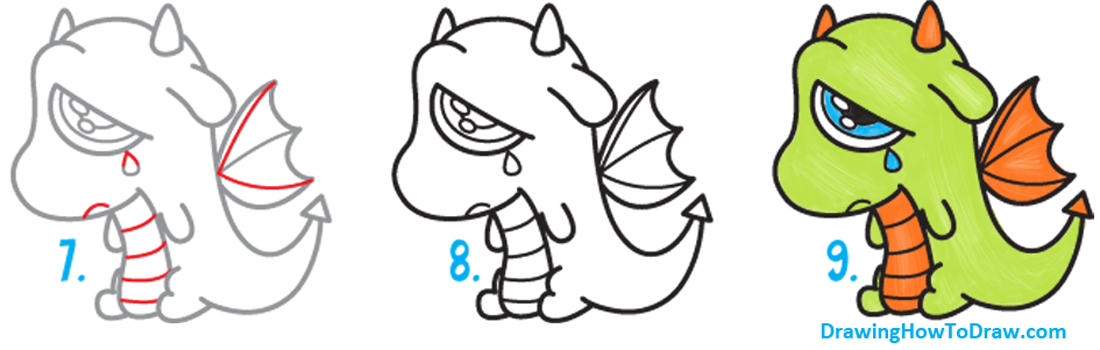 Learn How to Draw a Cute Kawaii / Chibi Cartoon Dragon Crying Simple Steps Drawing Lesson for Children