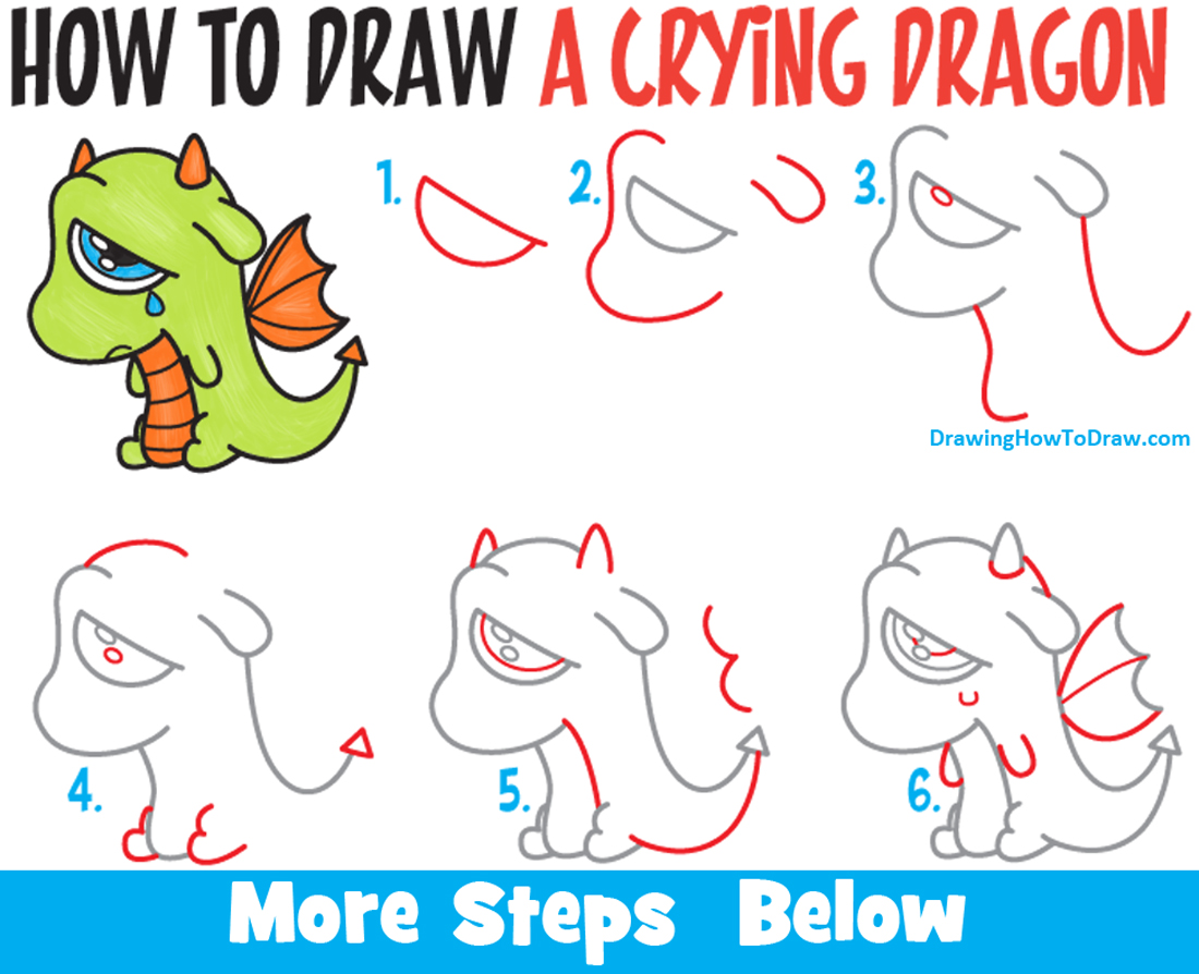 How to draw a cute cartoon dragon crying easy step by step for Learn drawing online step by step