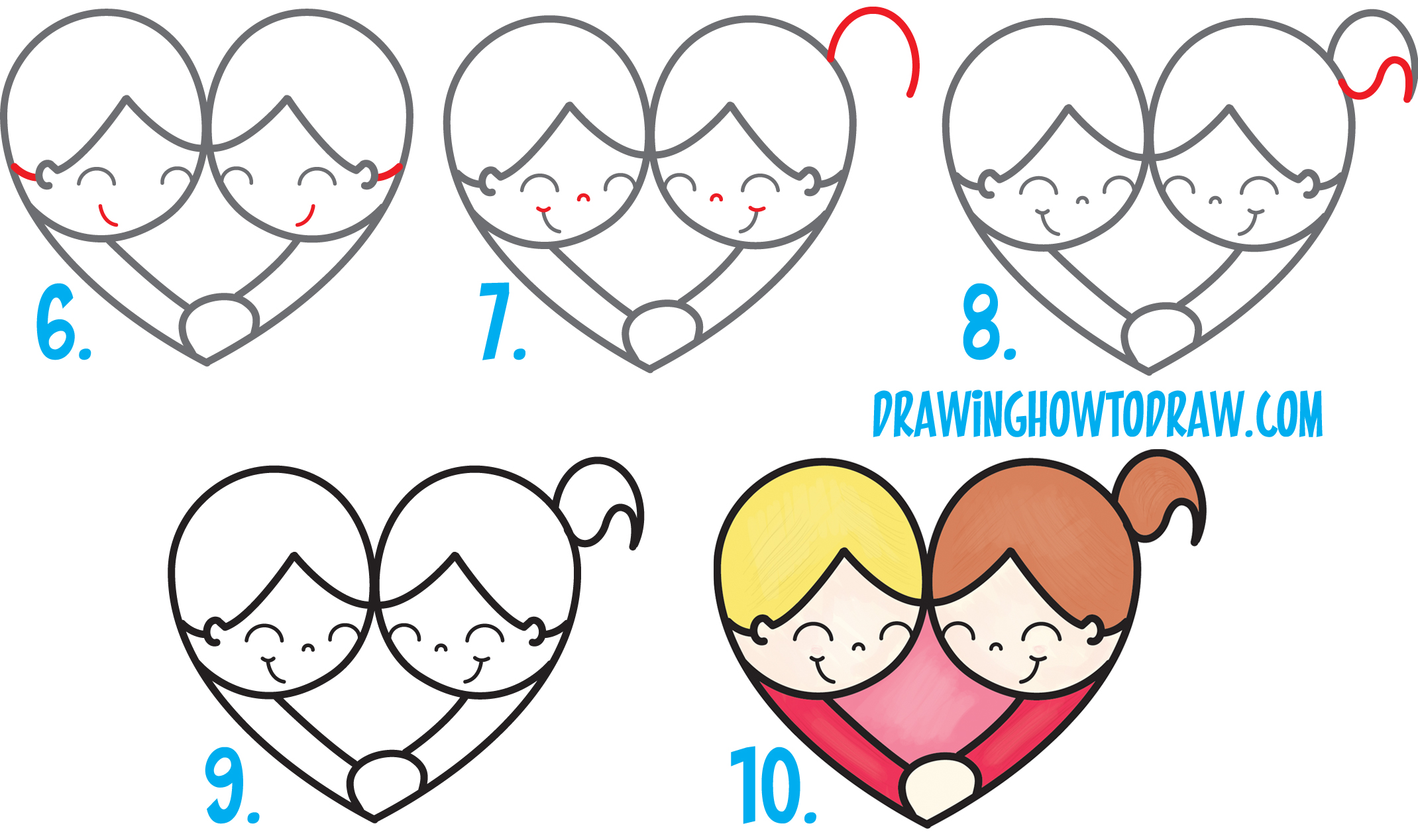 Learn How to Draw Cartoon Kids Hugging and in Love from #99 Shape Simple Steps Drawing Lesson for Children