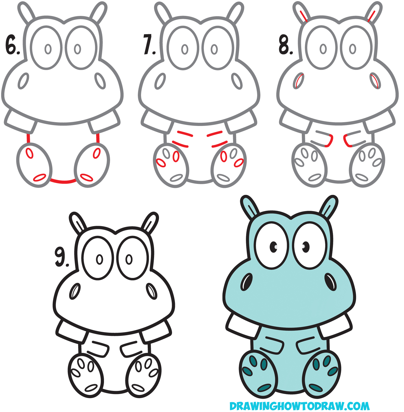 Learn How to Draw a Cute / Kawaii Cartoon Hippo Easy Step by Step Drawing Tutorial for Beginners & Kids