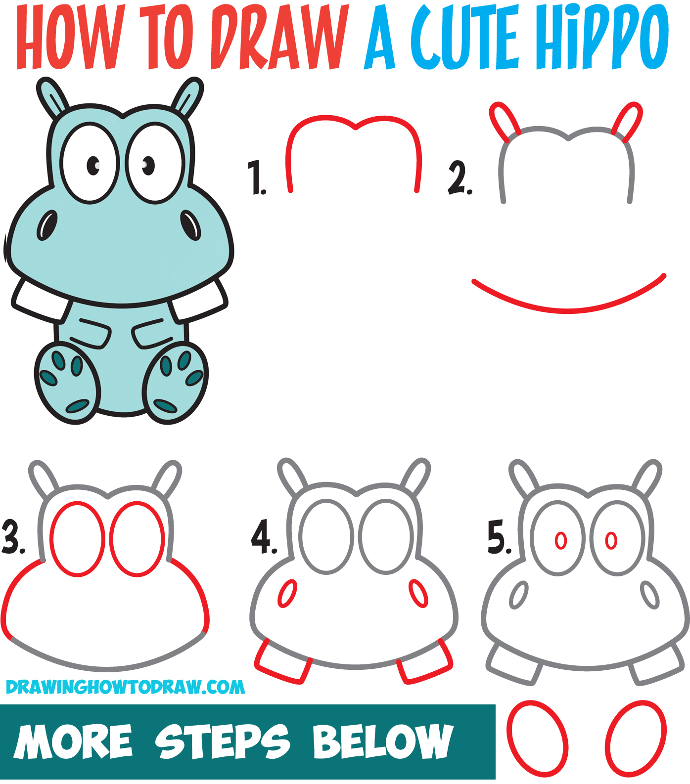 Learn How to Draw a Cute / Kawaii Cartoon Hippo Simple Steps Drawing Lesson for Beginners & Kids