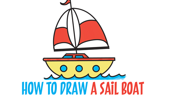 "Learn How to Draw a Cartoon Sailboat from the Letter ""B"" Shape Simple Steps Drawing Tutorial for Kids & Beginners"