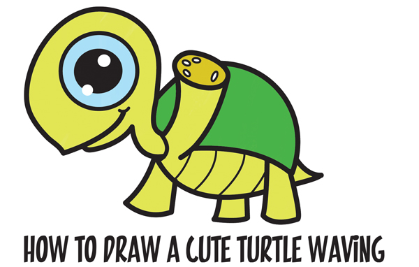 Learn How to Draw a Cute Kawaii / Chibi Turtle Waving with Easy Step by Step Drawing Tutorial for Kids & Beginners