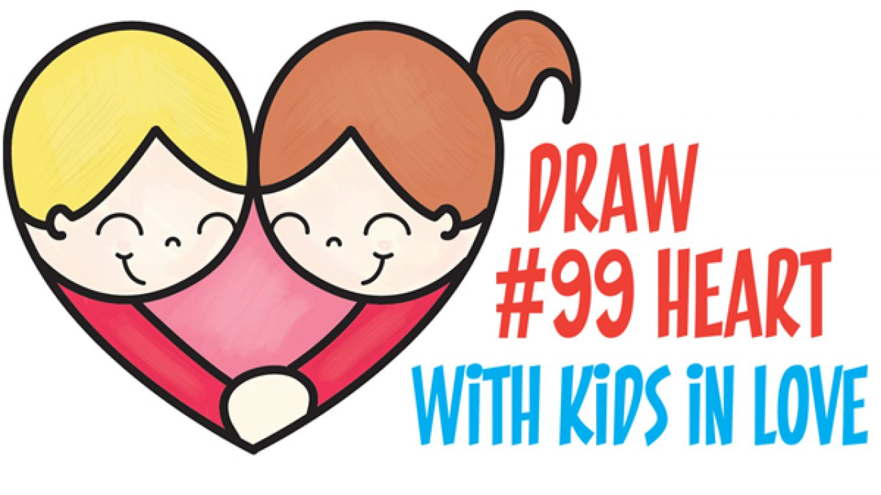 How To Draw Cartoon Kids Hugging To Form A Heart From 99 Shape Easy
