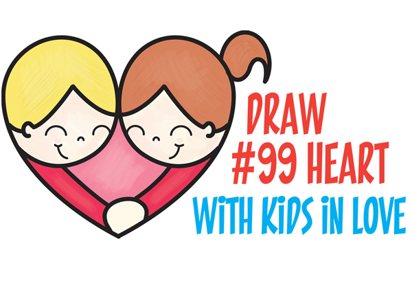 how to draw cartoon kids hugging to form a heart from 99 shape easy step by step drawing tutorial for kids