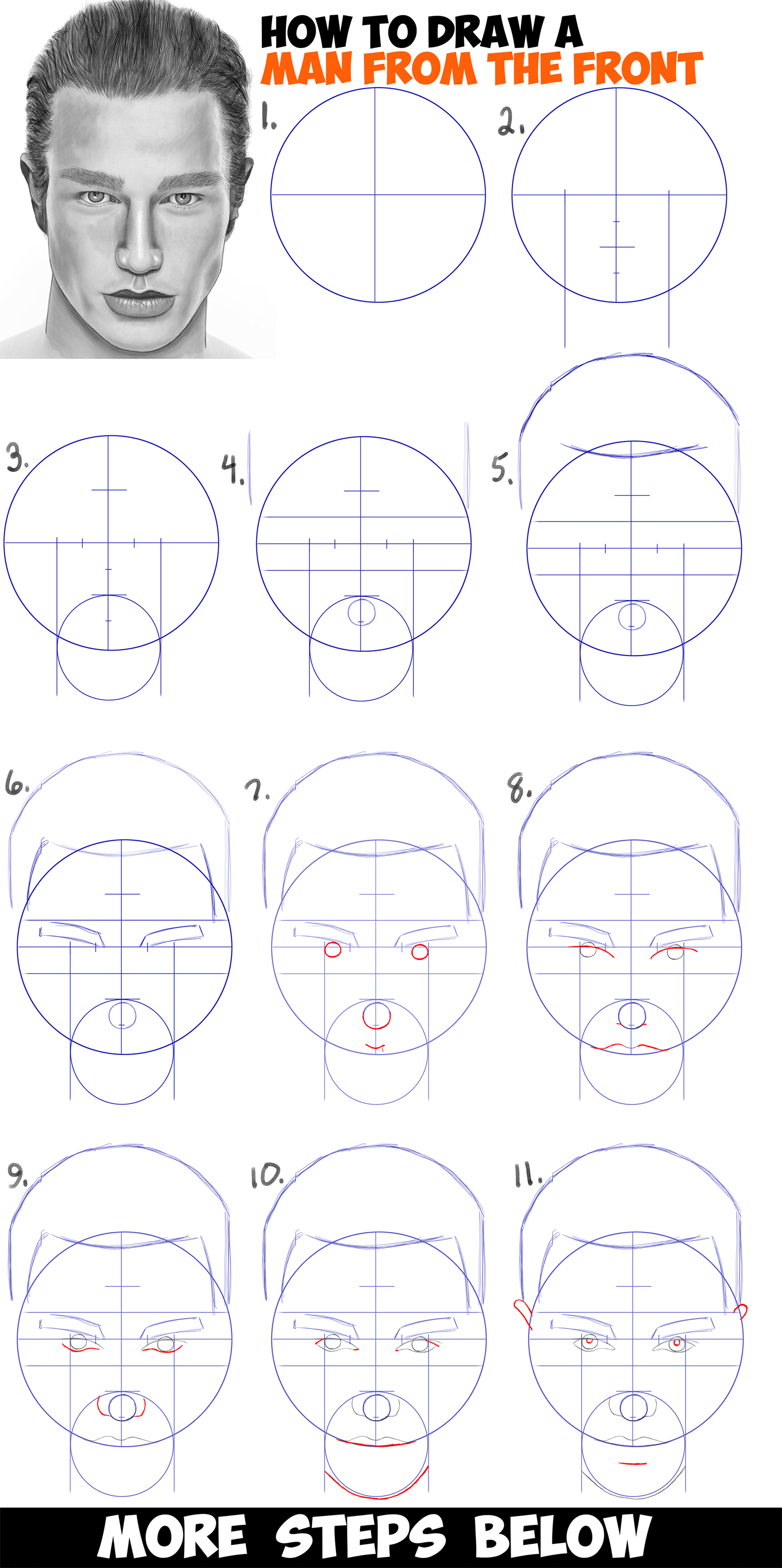 Learn how to draw a handsome mans face from the front view male easy