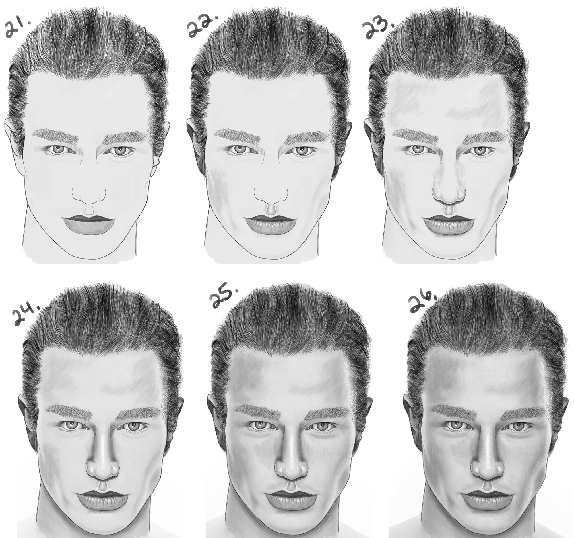 LearnHow to Draw a Handsome Man's Face from the Front View (Male) Simple Steps Drawing Lesson for Beginners