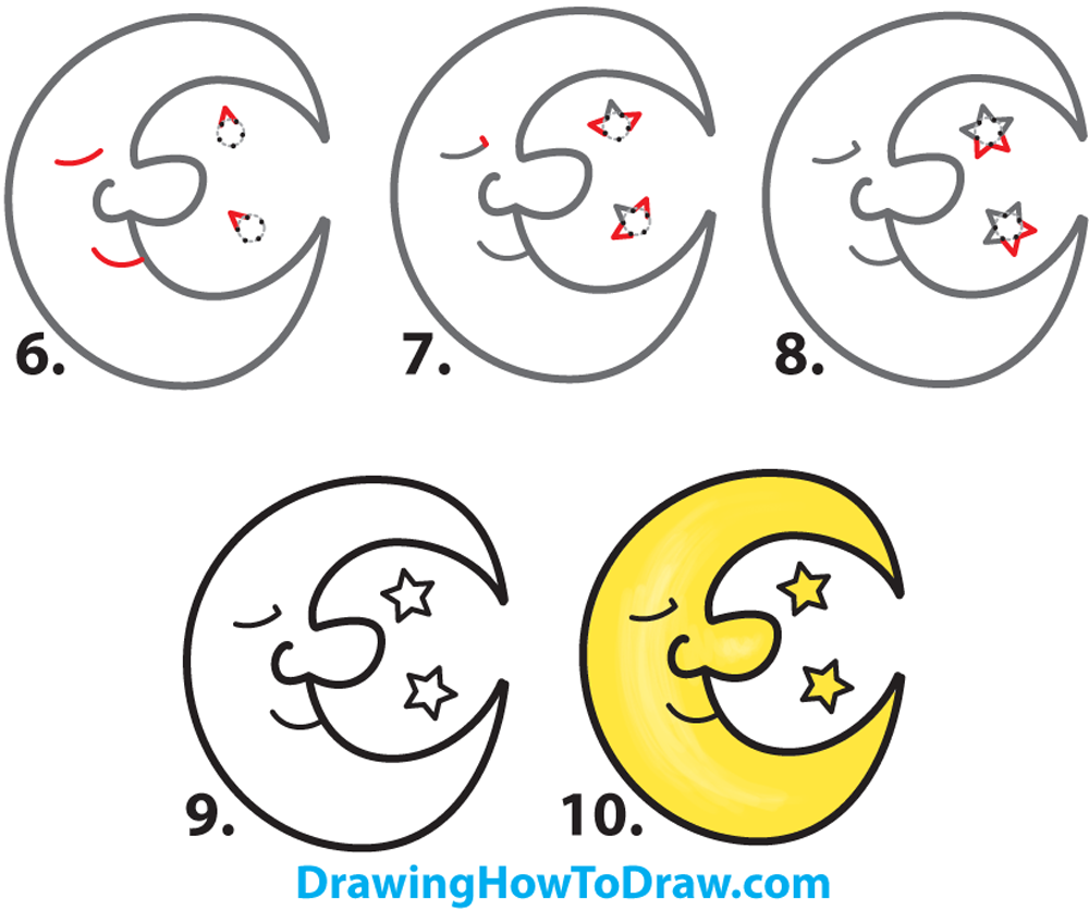 Learn How to Draw a Cartoon Moon and Stars Simple Steps Drawing Lesson for Kids & Beginners