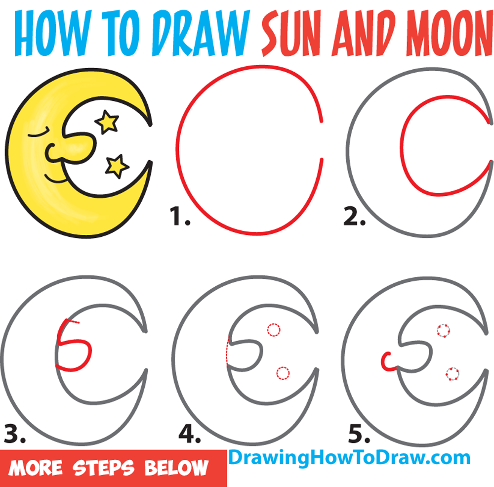 Learn How to Draw a Cartoon Moon and Stars Easy Step by Step Drawing Tutorial for Kids & Beginners