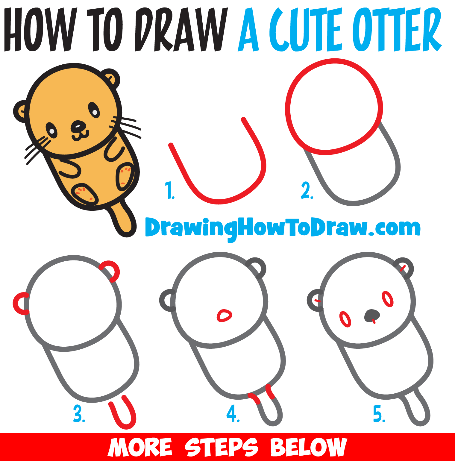 Learn How to Draw a Cute Kawaii / Chibi Cartoon Otter Floating Down the River Easy Step by Step Drawing Tutorial for Kids & Beginners